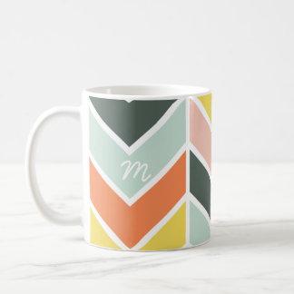 Monogrammed   Cheerful Chevron by Origami Prints Basic White Mug