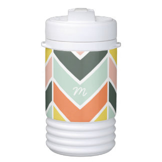 Monogrammed | Cheerful Chevron by Origami Prints Drinks Cooler
