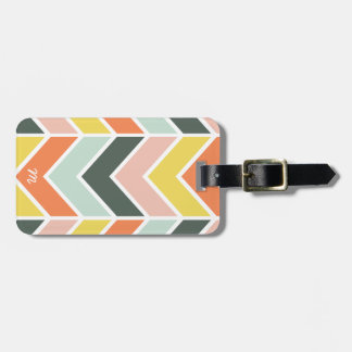 Monogrammed | Cheerful Chevron by Origami Prints Luggage Tag