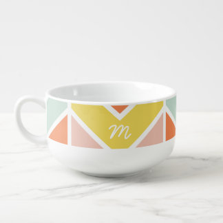 Monogrammed | Cheerful Chevron by Origami Prints Soup Mug