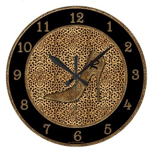 Monogrammed Cheetah Print and Stiletto Custom Wall Clock