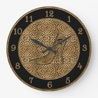 Monogrammed Cheetah Print and Stiletto Custom Clocks