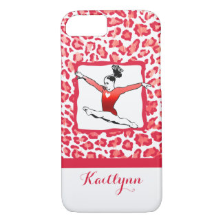 Monogrammed Cheetah Print Gymnastics in Red iPhone 7 Case