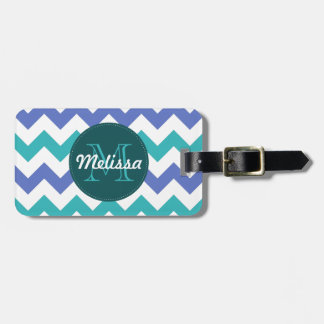 Monogrammed Chevron Teal Violet Circle Stitches Luggage Tag