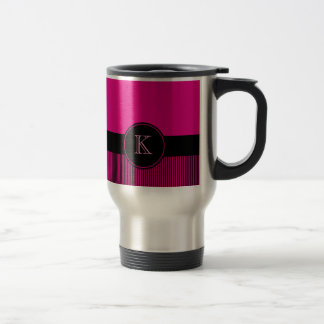 Monogrammed Chic Deep Pink Black Stripes Circle Travel Mug