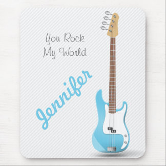 Monogrammed Chic Electric Guitar Sky Blue Stripes Mouse Pad