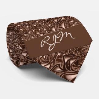 Monogrammed Chocolate Creme Paisley Necktie
