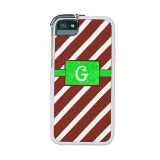 Monogrammed Christmas Candy Cane iPhone Case Cover For iPhone 5