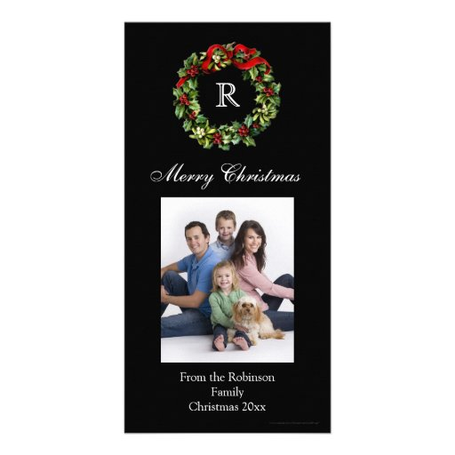 Monogrammed Christmas Classic Wreath Photo Card Template