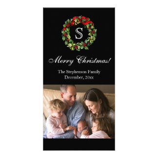 Monogrammed Christmas Classic Wreath Photo Card