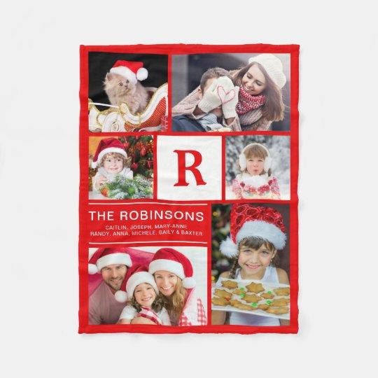 Monogrammed Christmas Family Photo Collage Fleece Blanket
