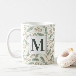Monogrammed Christmas Foliage Coffee Mug