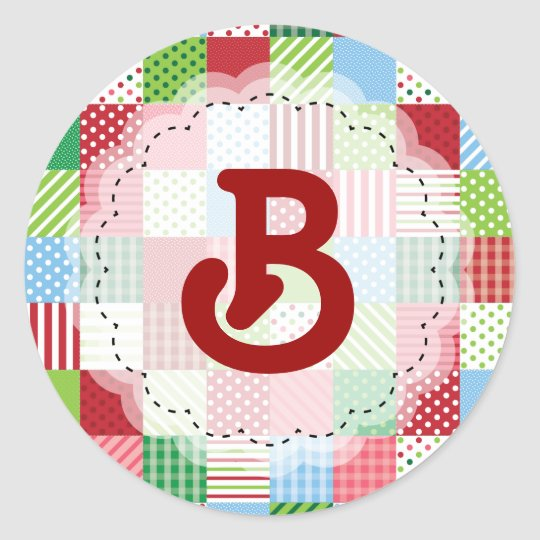 Monogrammed Christmas Patchwork Classic Round Sticker