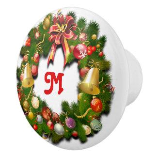 Monogrammed Christmas Wreath Ceramic Knob