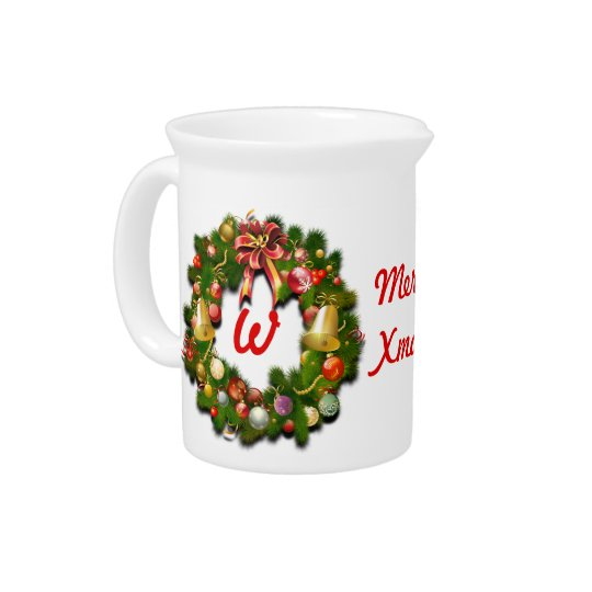 Monogrammed Christmas Wreath Pitcher