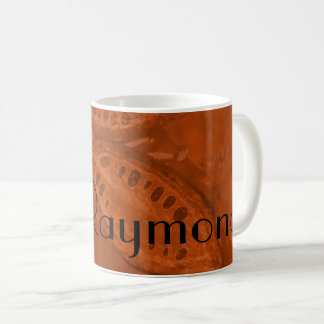 Monogrammed Cocoa Beans & Leaves in Orange Coffee Mug
