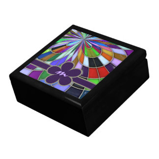 Monogrammed Colorful Abstract Stained Glass Flower Large Square Gift Box