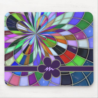 Monogrammed Colorful Abstract Stained Glass Flower Mouse Mat