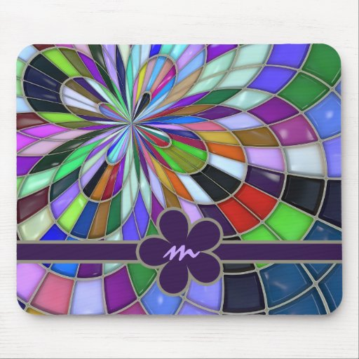 Monogrammed Colorful Abstract Stained Glass Flower Mouse Pad