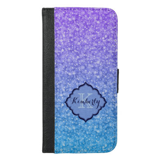 Monogrammed Colorful Glitter And Sparkles Pattern iPhone 6/6s Plus Wallet Case