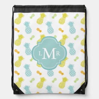 Monogrammed Colorful Pineapples Pattern Drawstring Backpacks