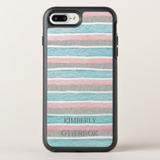 Monogrammed Colorful Stripes OtterBox Symmetry iPhone 8 Plus/7 Plus Case