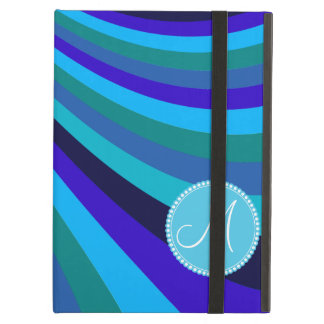 Monogrammed Cool Blue Gray Rainbow Slide Stripes Case For iPad Air
