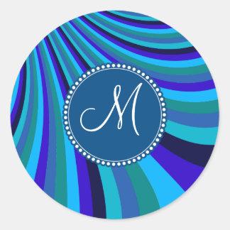 Monogrammed Cool Blue Gray Rainbow Slide Stripes Round Sticker