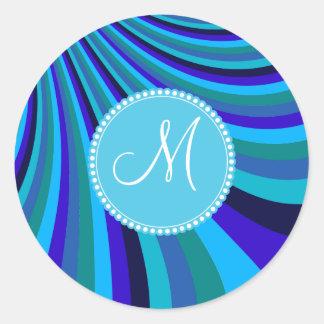 Monogrammed Cool Blue Gray Rainbow Slide Stripes Sticker