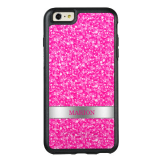 Monogrammed Cool Hot Pink And White Glitter OtterBox iPhone 6/6s Plus Case