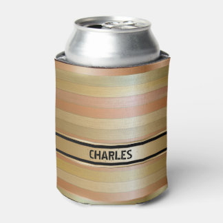 Monogrammed Copper And Gold Stripes Can Cooler
