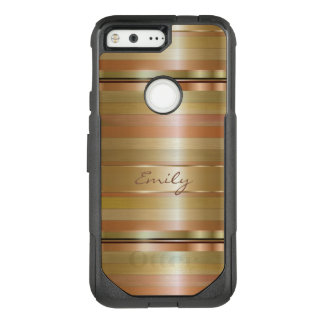 Monogrammed Copper Stripes Pattern OtterBox Commuter Google Pixel Case