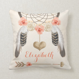 Monogrammed Coral and Gold Boho Dreamcatcher Cushion