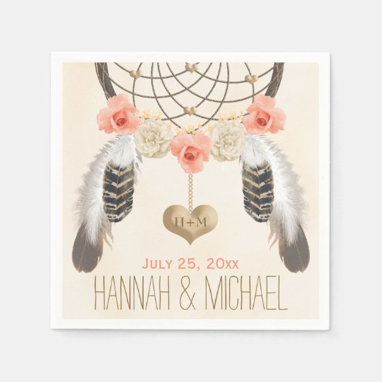MONOGRAMMED CORAL AND GOLD DREAMCATCHER WEDDING DISPOSABLE