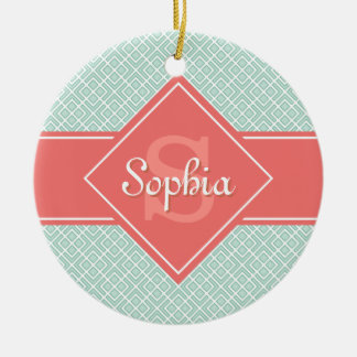 Monogrammed Coral and Mint Diamond Pattern Christmas Ornament