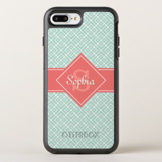 Monogrammed Coral and Mint Diamond Pattern OtterBox Symmetry iPhone 8 Plus/7 Plus Case