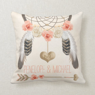 Monogrammed Coral Gold Boho Dreamcatcher Wedding Cushion