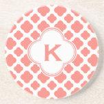 Monogrammed Coral Pink Quatrefoil Pattern Drink Coaster