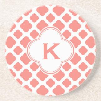 Monogrammed Coral Pink Quatrefoil Pattern Coaster