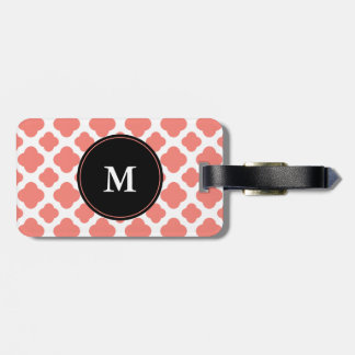 Monogrammed Coral Pink Quatrefoil Pattern Luggage Tag