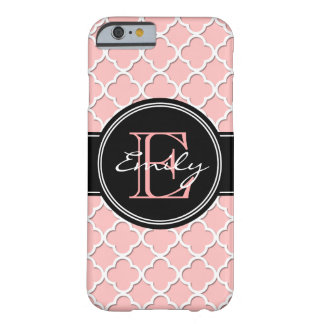 Monogrammed Coral White Quatrefoil iPhone 6 Case Barely There iPhone 6 Case