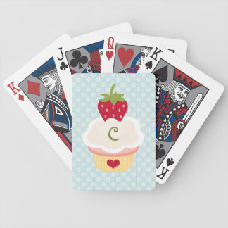 Monogrammed Cupcake Bicycle® Playing Cards