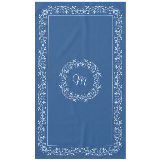 Monogrammed Custom Text Blue Vintage Lace Tablecloth