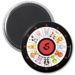 Monogrammed Cute Chinese Zodiac Circle Fridge Magnets