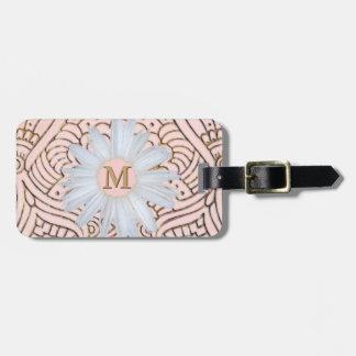 Monogrammed Daisy   Blush Pink Gold Bohemian Luggage Tag