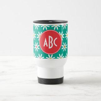 Monogrammed Daisy Dots Travel Mug