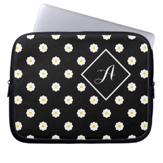 Monogrammed Daisy-Print Laptop Sleeve