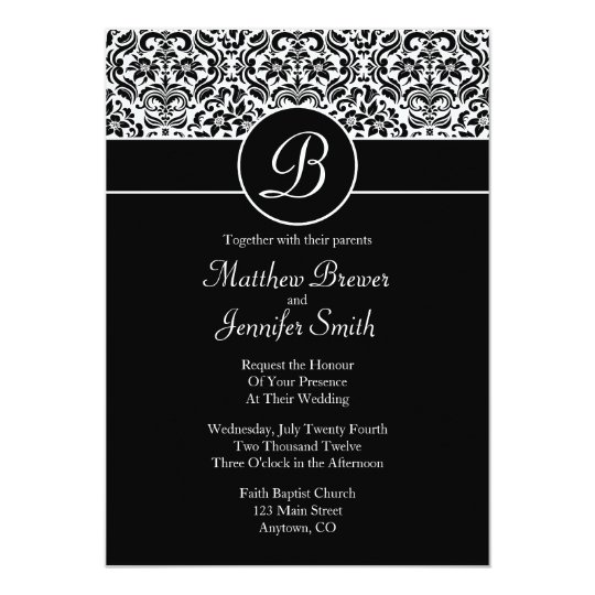 Monogrammed Damask Custom Wedding Invitation