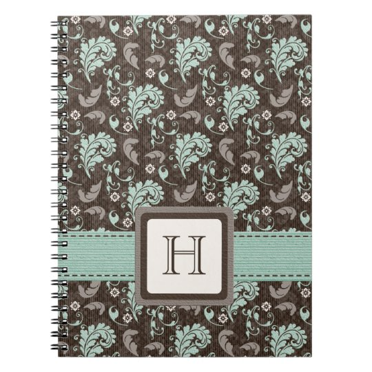 Monogrammed Damask Spiral Notebook Journal Teal Br