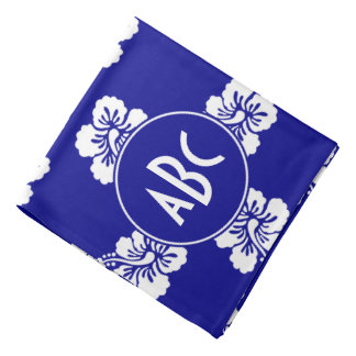 Monogrammed Dark Blue and White Hawaiian Pattern Bandana